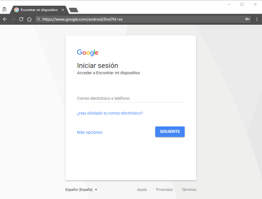 Pantalla inicio sesión de google